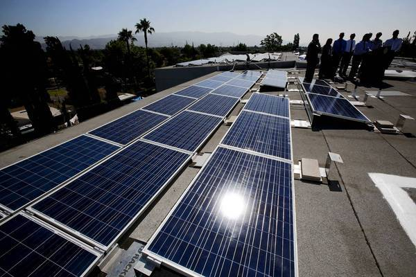 Los Angeles Mayor Antonio Villaraigosa speaks along with several officials to inaugurate a solar project in North Hollywood.