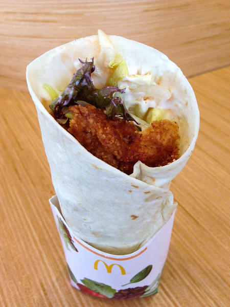 All three of McDonald's new Premium McWrap sandwiches are made with chicken that can be ordered crispy or grilled. Above, the crispy Sweet Chili Chicken version.