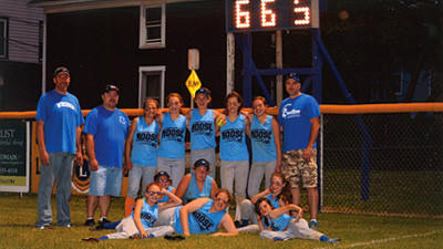 From left: Emily Wissinger, Peyton Betcher, Rozy Helbig, Ashton White, Lauren Showman and Libbi Showman; back row: coach Randy Roxby, coach Steve Chappie, Madison Leonardis, Mara Chappi, Kaitlyn Carney, Jaclynn Toki, Baylee Roxby and coach Steve Toki. Absent was coach Jude Leonardis.