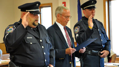 Somerset Borough Officers Richard Appel and Stephen Borosky were sworn-in as sergeants by Mayor William Meyer during Monday nights Somerset Borough Council meeting. There were four officers who took the sergeant test, with two passing.