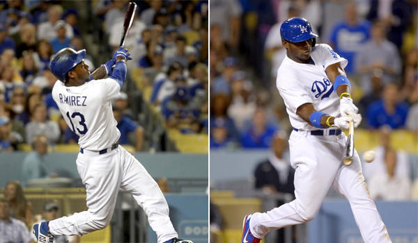 Hanley Ramirez, left, and Yasiel Puig are two of the Dodgers' biggest power hitters. The question is: Who hits the ball harder?
