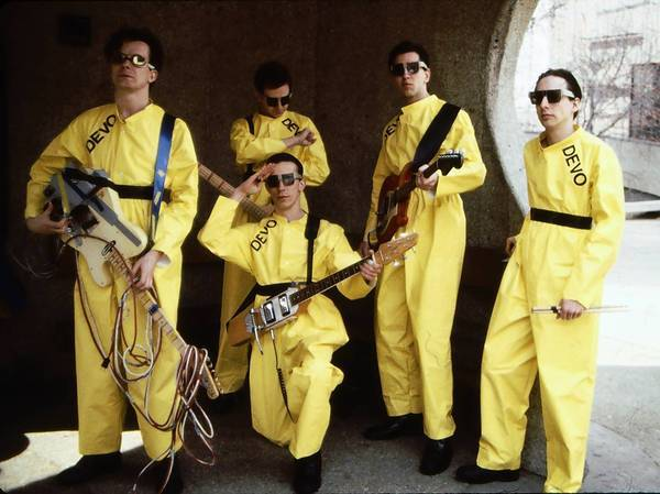 Devo in 1978, from left, Mark Mothersbaugh, Bob Mothersbaugh, kneeling, Jerry Casale, Bob Casale and Alan Myers.