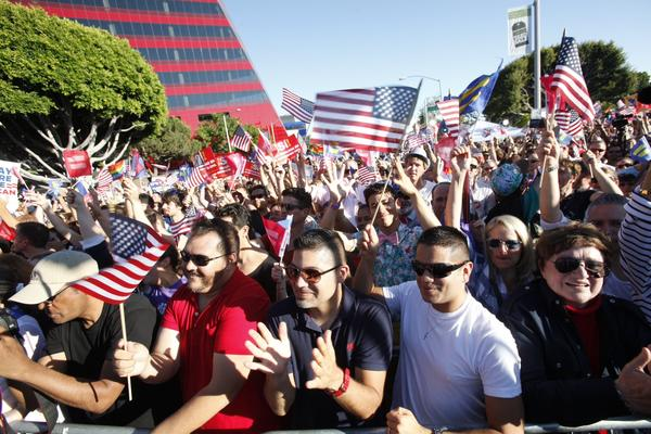 Crowds gather in West Hollywood on Wednesday, June 26, 2013. The highest court delivered a one-two punch in support of gay rights, striking down the federal Defense of Marriage Act while turning away the defenders of Proposition 8, the 2008 California ballot measure that prevented gay couples from marrying in 2009.