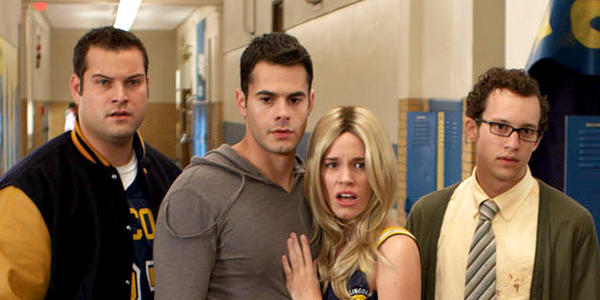 "Justin Chon, Max Adler, Jayson Blair, Christa B. Allen, Jacob Zachar and Alexa Nikolas in ""Detention of the Dead."""