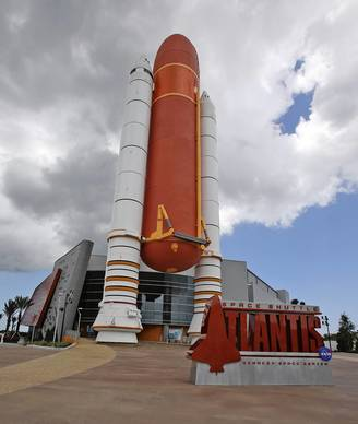 The new space shuttle Atlantis attraction -- a $100 million home at Kennedy Space Center Visitor Complex.