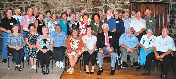 "Those attending the Clear Spring High School class of 1963 reunion included, front row, from left, Anna Jean Mullen Stine, Shirley Robinson Glesner, Judy Grove Whittington, Peggy Baker, Merry Weber Gehr, Judy Miles Burgan, John Salvatore, Raymond Kline, Linda Snyder and Brian Moore. Middle row, David Baker, Gary ""Pete"" Hawbaker, Lynn Holtzman Hunsberger, Glennie Robinson Michael, Donna Kay Glower, Linda Trumpower Lee, Charlene McAllister Bragunier, Kay Hull Shank, Joe Mills, Clyde Faith and Carl Hawbaker. Back row, Jim Reger, Eddie Deeds, Louella Ruse Rowland, Frank Whittington, Carolyn Keefer Rhodes, Lloyd Weaver, Ron Henson, Phil Burgan, Bill Burgan, Donald ""Moose"" Mundey and Jerry Beard."