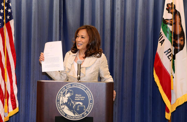 California Atty. Gen. Kamala Harris discusses the Supreme Court ruling on Proposition 8 in Los Angeles on Wednesday.