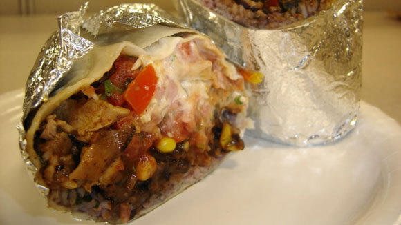 A chicken mole burrito at Qdoba.