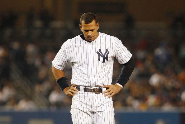 Alex Rodriguez #13 of the New York Yankees reacts after grounding out with the bases loaded against the New York Mets on May 20, 2011 at Yankee Stadium in the Bronx borough of New York City.