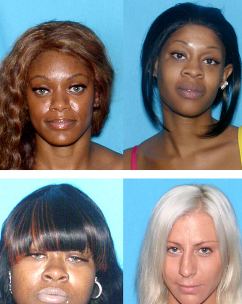 Subhanna Beyah, 25, (upper left), Johnnina Miller, 25, (lower left), Keshia Clark, 27, (upper right) and Ryan Elkins, 23, (lower right) are part of a ring of women who drug and rob men they meet at upscale bars, police say.