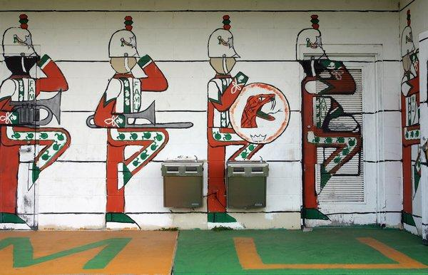 """Mural painted in one of the buildings at the Patch, practice field of the """"Marching 100,"""" at Florida A&M University."""