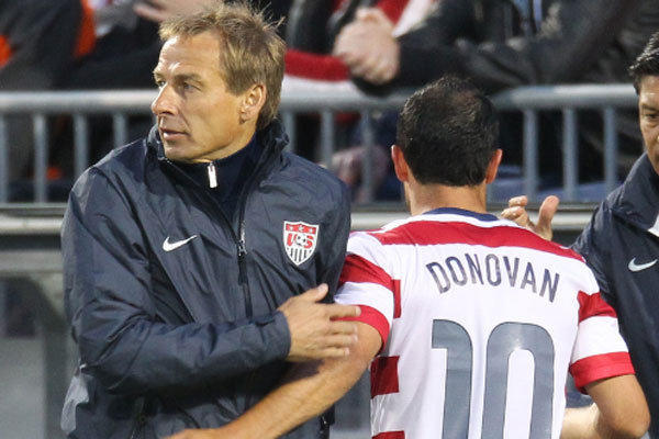 U.S. national soccer Coach Juergen Klinsmann, left, has kept Landon Donovan off the team since the player returned from a three-month sabbatical from the sport earlier this year.