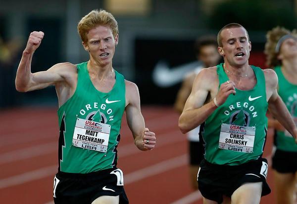 Matt Tegenkamp (left) beating Chris Solinsky for the 5,000-meter title at the 2009 U.S. Championships.