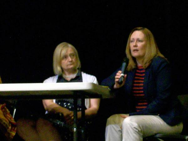 "Kathy Pluymert, of Community Consolidated School District 15, and Ashley Knight, of Harper College, were two of the four panelists who answered questions from audience members after a special screening of the movie ""Bully"" at Cutting Hall Performing Arts Center on June 22."