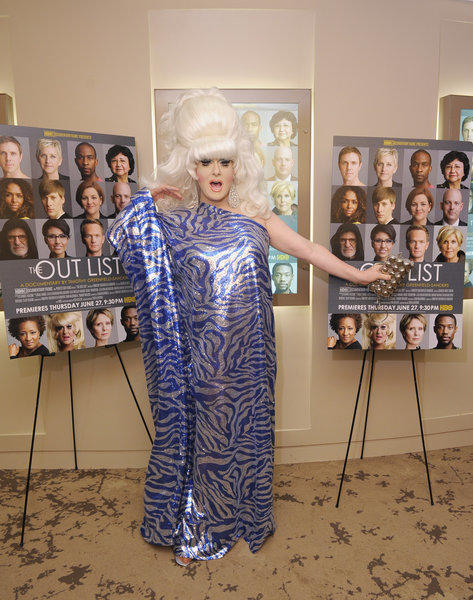 "Drag performer Lady Bunny attends the HBO premiere of ""The Out List."""