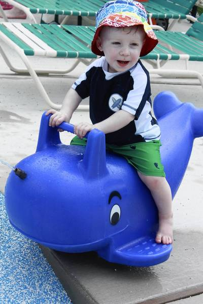 "P.J. Herbick, 1, son of Seanne Herbick, of Hampton, enjoys a whale ride at Padonia Park Club. P.J.'s grandmother, Gail Henkel, of Timonium, said, ""He's delicious, that's why I moved here from New York!"""