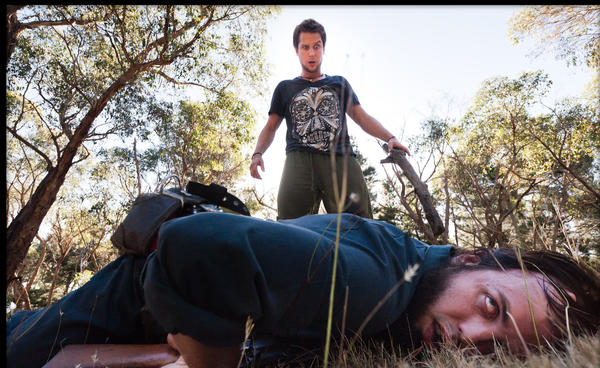 "Wesley (Jamie Kristian), left, and Lindsay Morgan (Angus Sampson) in ""100 Bloody Acres."""