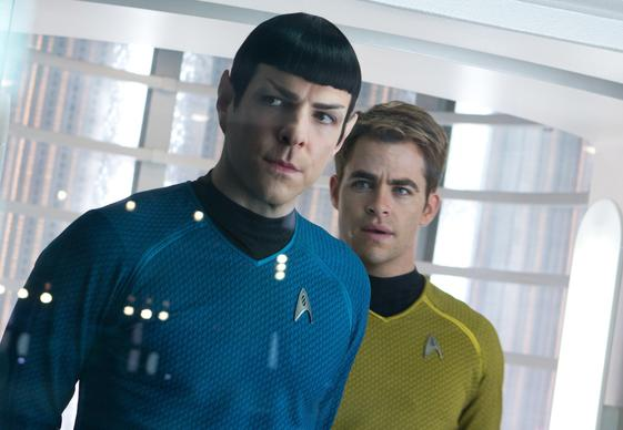 """Star Trek Into Darkness,"" which stars Zachary Quinto, left, as Spock and Chris Pine as Kirk, features attacks on crowded offices."