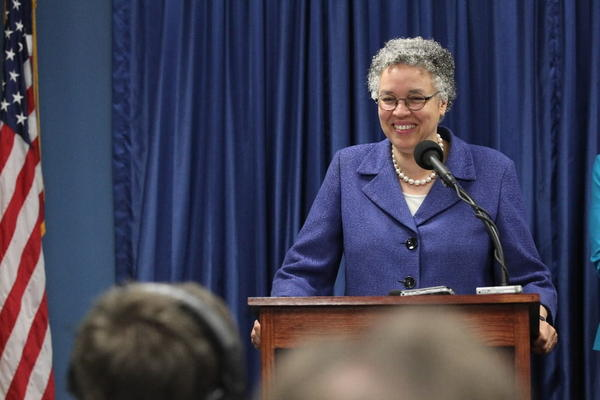 Toni Preckwinkle, Cook County Board President, releases the preliminary budget for Fiscal Year 2014 which projected a $152.1 million deficit, at the Cook County Building on Thursday June 27, 2013.