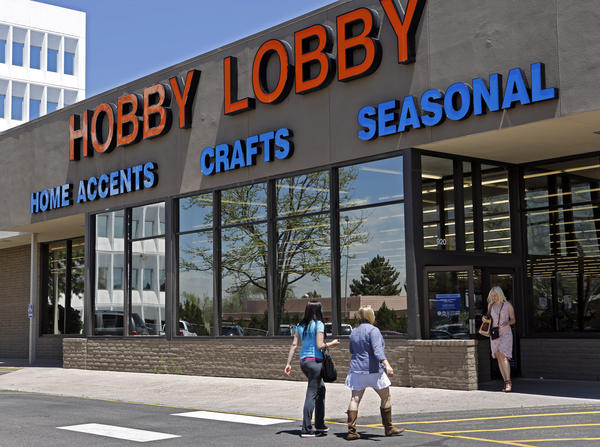 Customers at a Hobby Lobby store in Denver. The U.S. 10th Circuit Court of Appeals sided with the Oklahoma-based chain Thursday in its legal challenge to the mandate in the 2010 Affordable Care Act that employer health plans provide free contraception.