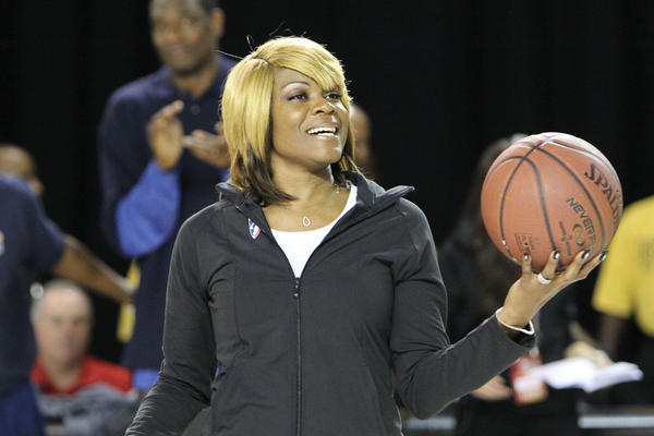 WNBA Legend Sheryl Swoopes coaches at the NBA All-Star Wheelchair Classic in Houston last February.