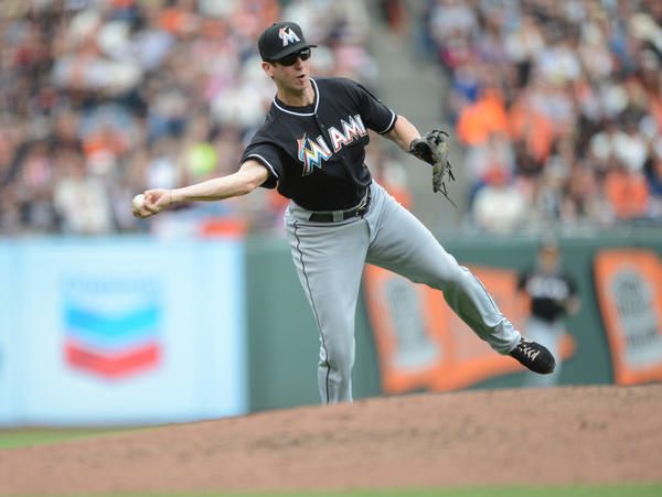 Jun 23, 2013; San Francisco, CA, USA; Miami Marlins third baseman Ed Lucas (59) turns the third out of the sixth inning in a game against the San Francisco Giants at AT&T Park. Mandatory Credit: Bob Stanton-USA TODAY Sports ORG XMIT: USATSI-122596