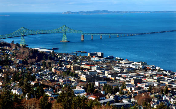 The view of Astoria, Ore., from the lovingly restored Astoria Column on Coxcomb Hill. The old fishing and lumber town on the Columbia River has made an incredible comeback.