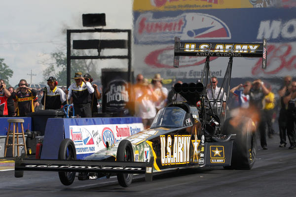 NHRA top fuel dragster driver Tony Schumacher during qualifying at the Summit Racing Equipment Nationals.