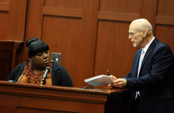 Defense attorney Don West questions Rachel Jeantel during the trial of George Zimmerman in Florida. Jeantel was the last person to talk to Trayvon Martin before his fatal confrontation with Zimmerman.