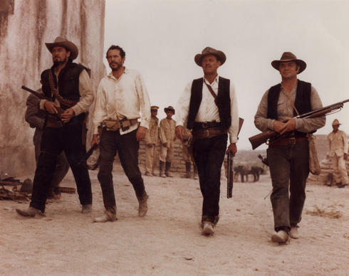 "Ben Johnson, Warren Oates, William Holden and Ernest Borgnine in  ""The Wild Bunch."""