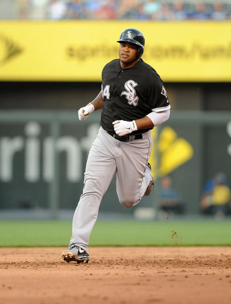 Dayan Viciedo runs the bases after hitting a three-run home run against the Royals.