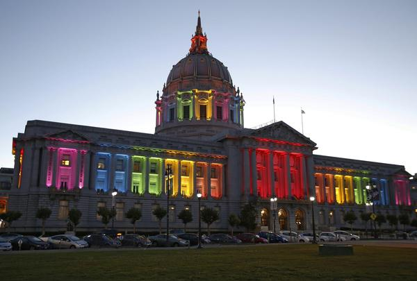 San Francisco City Hall is lit up with the colors of the rainbow flag following the rulings from the U.S. Supreme Court on DOMA and California's Prop. 8 ban on same sex marriages.