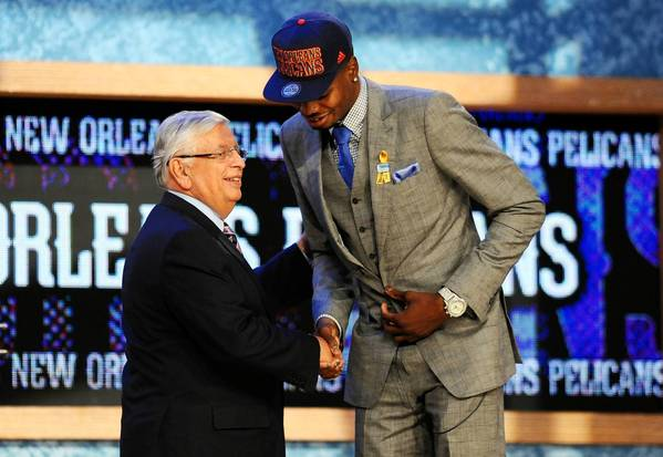 Nerlens Noel (Kentucky) shakes hands with NBA commissioner David Stern after being selected by New Orleans. He was later traded to the 76ers.