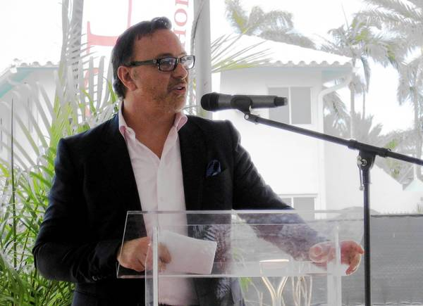Moses Bensusan, CEO of Liberty Grande and the developer of the Costa Hollywood Condo Resort at Hollywood Beach development listens to questions Thursday at a groundbreaking ceremony at the site of the six-story project that's expected to be completed by first-quarter 2015.