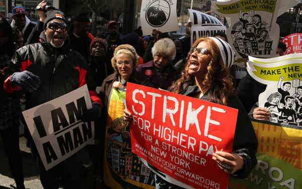 New York City fast food workers rally at a one-day strike on April 4.