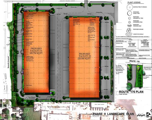 Concept plans for the proposed warehouse development in Libertvyille along Route 176 are shown here.