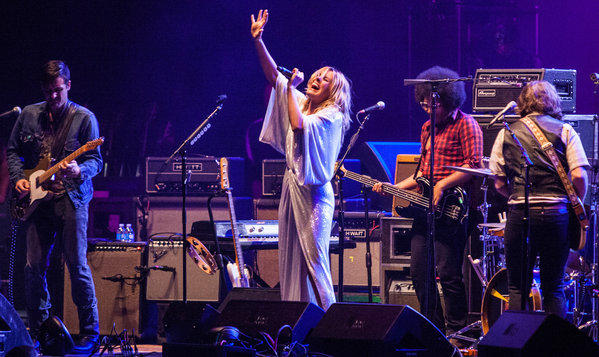Grace Potter & the Nocturnals open for Robert Plant and the Sensational Shape Shifters at the Shrine Auditorium on Wednesday night. Potter, second from left, is wearing a Diane von Furstenberg sequin maxi dress.
