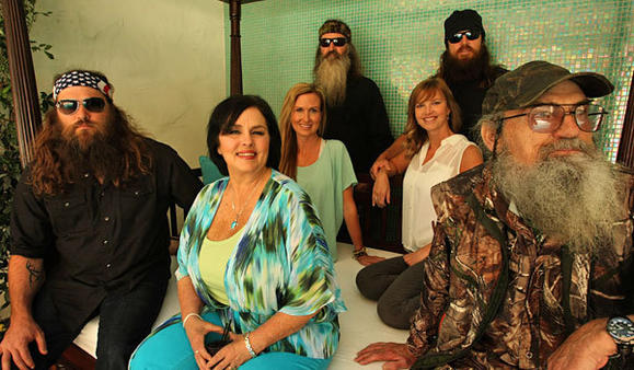 The Robertson family, from left,  Willie, Kay, Korie, Phil, Sissy, Jase and Si.