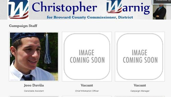 Christopher Warnig's campaign page indicates he's building his team, still.