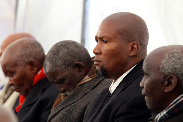 Mandla Mandela, center, grandson of former South African President Nelson Mandela, attends a family funeral earlier this month in the Eastern Cape village of Qunu.