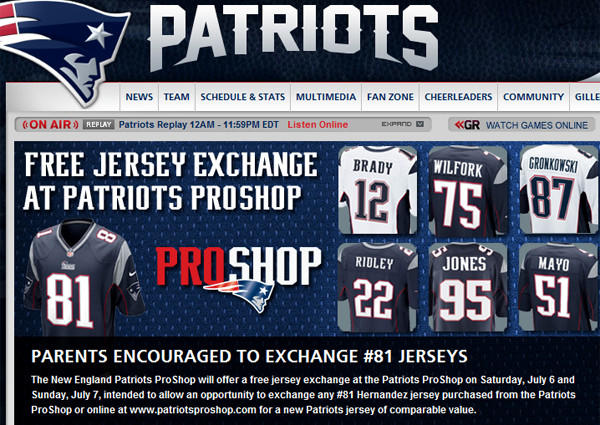 2022e98f7 The New England Patriots are encouraging parents to exchange Aaron Hernandez  jerseys.