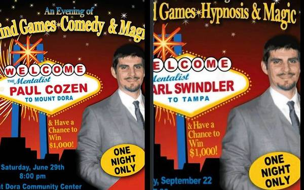 "Marketing for mentalist shows by ""Paul Cozen"" and ""Carl Swindler."""