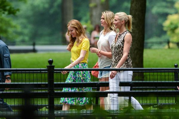 "Actresses Leslie Mann, left, Kate Upton and Cameron Diaz film a scene on the ""Other Woman"" movie set in Central Park in New York City."