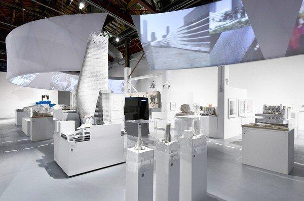 """Installation view of """"A New Sculpturalism: Contemporary Architecture from Southern California"""" at the Geffen Contemporary at MOCA."""