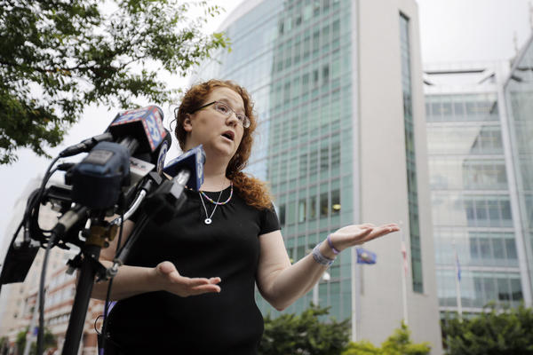 Janet Murnaghan, mother of 10-year-old lung transplant recipient Sarah Murnaghan, speaks during a news conference outside Children's Hospital of Philadelphia.