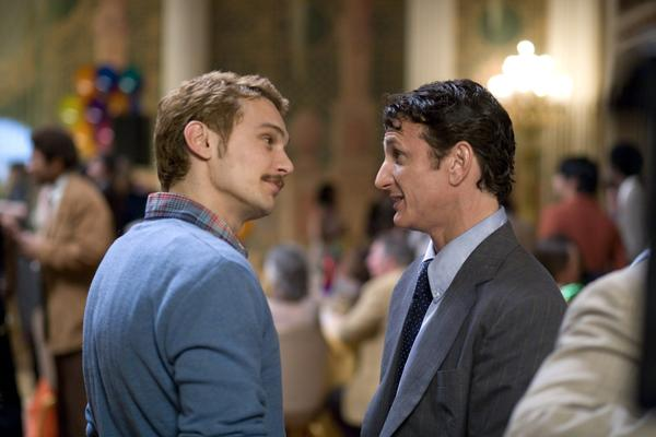 "James Franco, left, and Sean Penn star as real-life gay-rights activists Scott Smith and Harvey Milk, respectively, in director Gus Van Sant's movie ""Milk."""