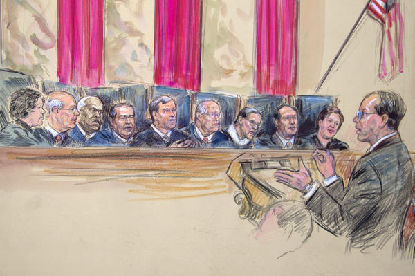 An artist rendering shows Paul Clement address the U.S. Supreme Court as it heard arguments on the Defense of Marriage Act.