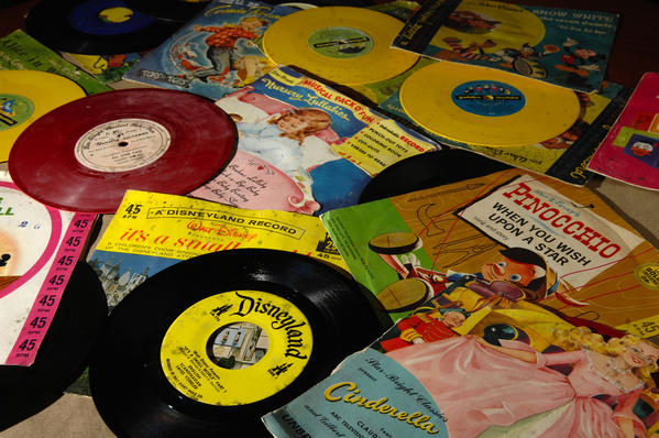 A selection of some of the nearly 800 vintage kiddie records that were donated to Florida Atlantic University's Recorded Sound Archives. Go to related items to listen to some of the songs.