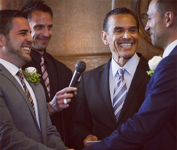 A little more than two hours after a federal court lifted an injunction on gay marriages Friday afternoon, Burbank couple Paul Katami and Jeff Zarrillo, who helped push Proposition 8 to the U.S. Supreme Court were officially married.