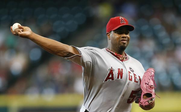 Angels starter Jerome Williams delivers a pitch during the first inning of Friday's 4-2 victory over the Houston Astros.